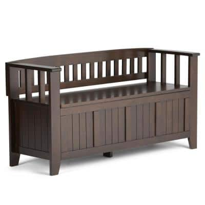 Acadian Solid Wood 48 in. Wide Transitional Entryway Storage Bench in Brunette Brown