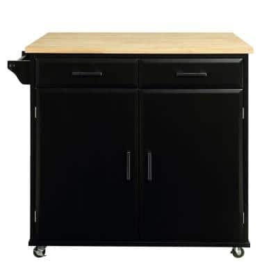 Townville Black Kitchen Cart with Natural Wood Top