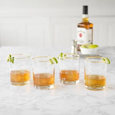 Old Fashioned 11 oz. Gold Rim Whiskey Glasses