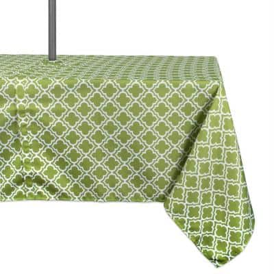 Outdoor 60 in. x 120 in. Green Lattice Polyester with Zipper Tablecloth