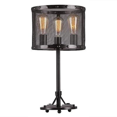 Furolee 18 in. 3-Light Indoor Black Chandelier with Light Kit