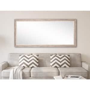 Medium Cream/White/Gray/ Tan Shades Wood Hooks Rustic Mirror (32 in. H X 71 in. W)