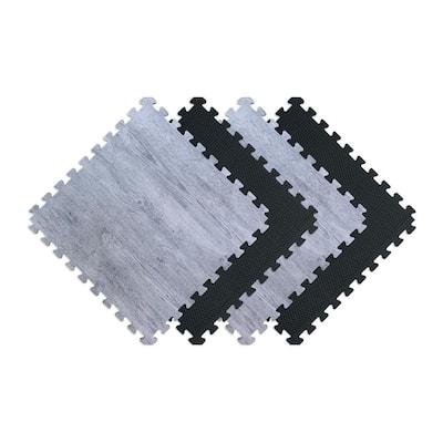 Reversible Stone Gray/Black Faux Wood 24 in. x 24 in. x 0.47 in. Foam Mats (4-Pack)