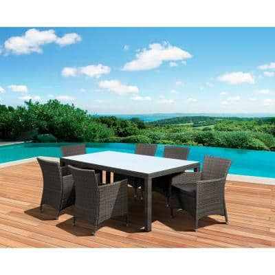 Grand New Liberty Deluxe Gray 7-Piece Rectangular All-Weather Wicker Patio Dining Set with Gray Cushion