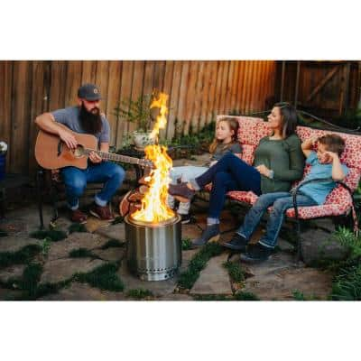 Ranger Bundle 15 in. x 12.5 in. Round Stainless Steel Wood Burning Portable Fire Pit with Stand Included