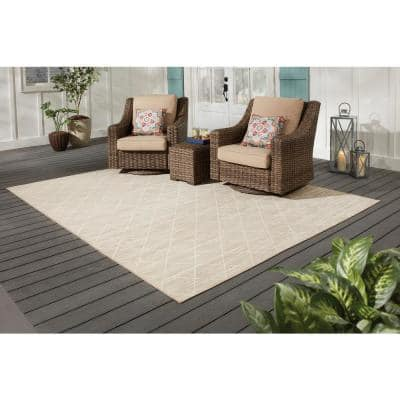 Trellis Tan 8 ft. x 10 ft. Indoor/Outdoor Area Rug