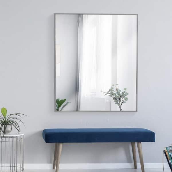 Deco Mirror 30 In W X 36 H Framed, Nickel Framed Vanity Mirror