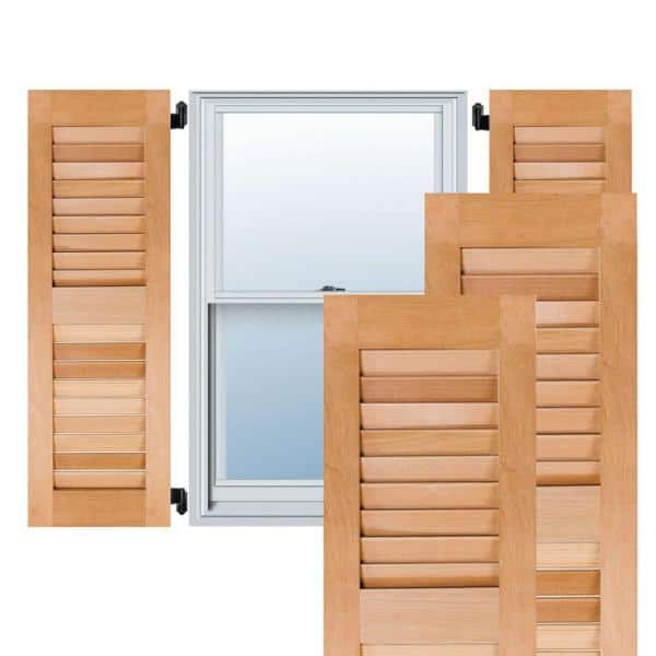 Ekena Millwork 15 In X 51 In Exterior Real Wood Pine Louvered Shutters Pair Unfinished Rwl15x051unp The Home Depot