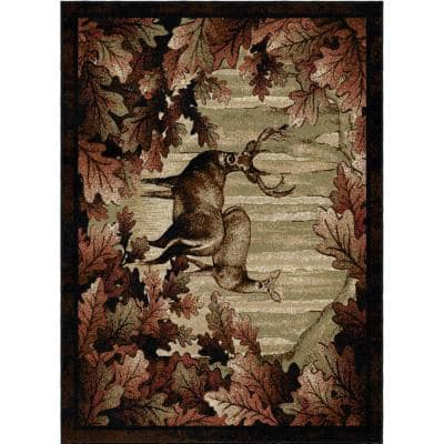 American Destination Whitetail Woods Multi-Colored 8 ft. x 10 ft. Lodge Area Rug