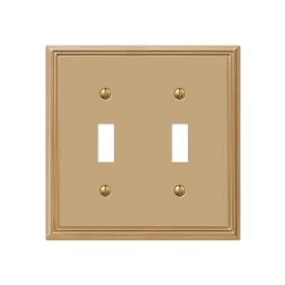 Rhodes 2 Gang Toggle Metal Wall Plate - Brushed Bronze
