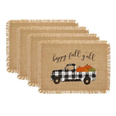 13 in. x 19 in. Happy Fall Y'all Farmhouse Burlap Placemat (Set of 4)
