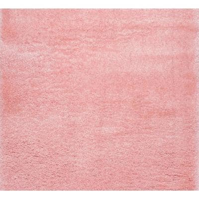 Gynel Solid Shag Baby Pink 5 ft. Square Rug