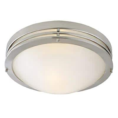 2-Light Satin Nickel Ceiling Light with Alabaster Glass