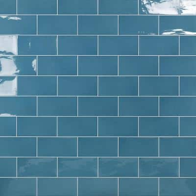 Barbados Blue 5 in. x 10 in. 9 mm Polished Ceramic Wall Tile (30 pieces / 9.9 sq. ft. / box)