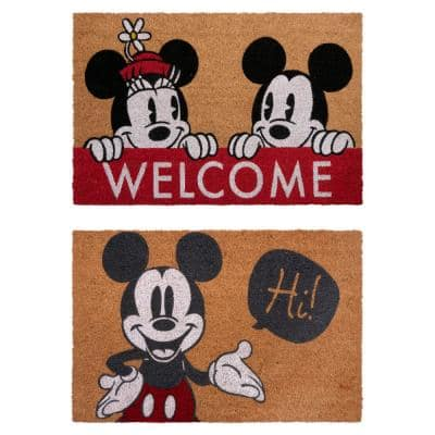 Mickey Mouse Hi and Welcome 20 in. x 34 in. Coir Door Mat (2-Pack)