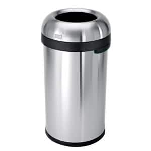 16 Gal. Heavy-Gauge Brushed Stainless Steel Bullet Round Open Top Commercial Trash Can