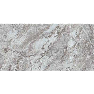 Universal 12x24 White and Gray Travertine Low Gloss Peel and Stick Floor and Wall Vinyl Tile (30.15 sq ft/case)