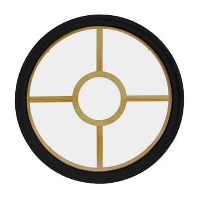 48 in. x 48 in. Round Black 6-9/16 in. Jamb 3-1/2 in. Interior Trim 5-Lite Grille Geometric Aluminum Clad Wood Window