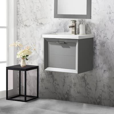 Danbury 20 in. W x 15.7 in. D Bath Vanity in Gray with Porcelain Vanity Top in White with White Basin