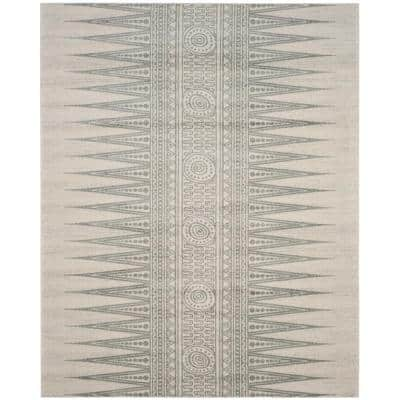 Evoke Ivory/Silver 9 ft. x 12 ft. Geometric Area Rug
