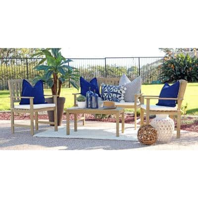 Jonah 4-Piece Wood Outdoor Patio Conversation Set with Beige Cushions