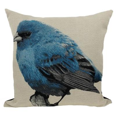 18 in. x 18 in. Blue Bird Embroidery with Feather Filled Pillow