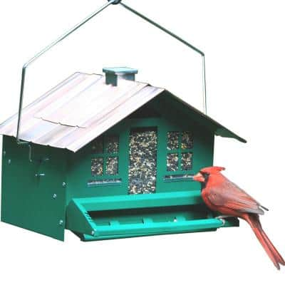 Squirrel-Be-Gone II Green Country Style Squirrel Proof Bird Feeder - 12 lb. Capacity