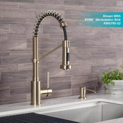 Bolden Single Handle Kitchen Faucet with Soap Dispenser in Spot Free Antique Champagne Bronze Finish