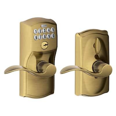 Camelot Antique Brass Electronic Door Lock with Accent Door Lever Featuring Flex Lock