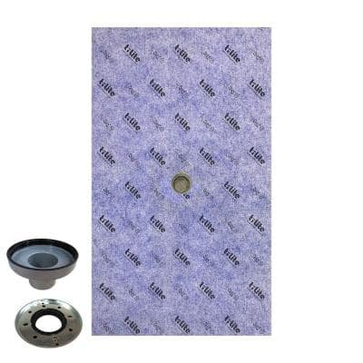 48 in. x 72 in. x 2.25 in. Center Drain Waterproof Shower Pan Underlayment with Drain Adapter (Drain Cover Not Included)
