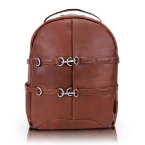 15 in. Brown McKlein OAKLAND Pebble Grain Calfskin Leather Business Casual Laptop and Tablet Backpack