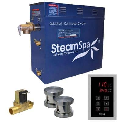 Oasis 10.5kW QuickStart Steam Bath Generator Package with Built-In Auto Drain in Polished Brushed Nickel