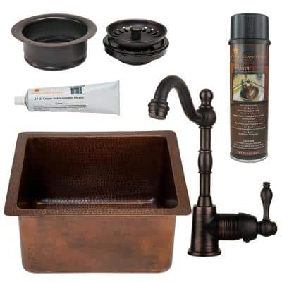 Bronze 14 Gauge Copper 16 in. Dual Mount Rectangular Bar Sink with Faucet and Garbage Disposal Drain