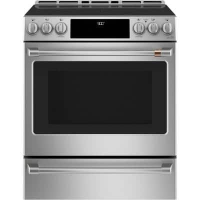 30 in. 5.7 cu. ft. Slide-In Smart Electric Range with Self Cleaning Convection Oven in Stainless Steel