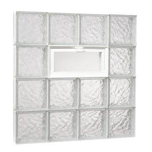 31 in. x 31 in. x 3.125 in. Ice Pattern Glass Block Masonry Window with Vent