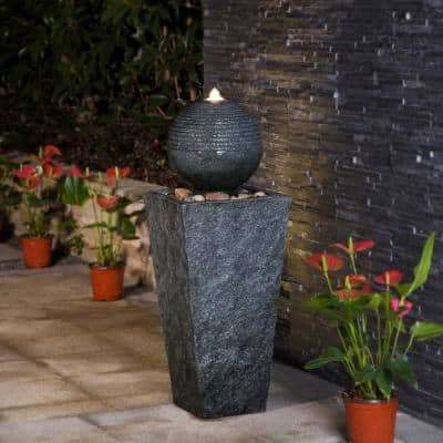 31.75 in. H Polyresin Rippling Floating Sphere Pedestal Outdoor Fountain With Pump and LED Light (KD)