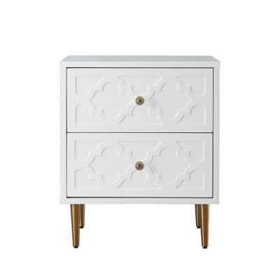 White Floral Pattern 2-Drawer Chest of Drawers with Sturdy Metal Golden Legs