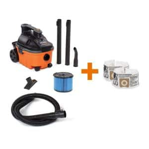 4 Gallon 5.0-Peak HP Portable Wet/Dry Shop Vacuum with Fine Dust Filter, Dust Bags, Hose and Accessories