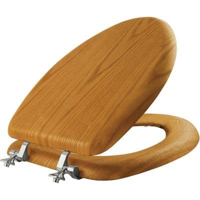 Elongated Closed Front Toilet Seat in Natural Oak