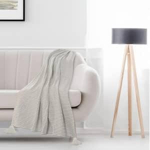 Nicobar Gray Casual Striped Tassel Cotton Throw Blanket