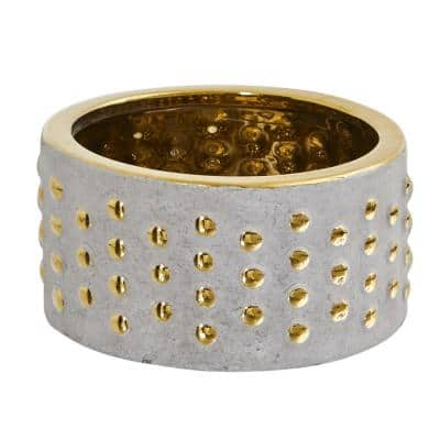 6.75in. Regal Stone Hobnail Planter with Gold Accents