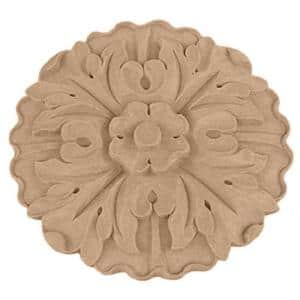 5/8 in. x 4-1/4 in. x 4-1/4 in. Unfinished Wood Cherry Small Kent Floral Rosette