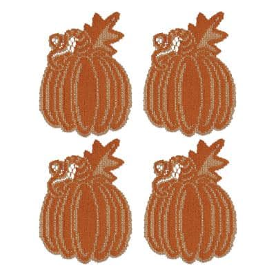 Pumpkin Vine 6 in. x 7 in. Orange Doily (Set of 4)