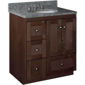 Shaker 30 in. W x 21 in. D x 34.5 in. H Simplicity Vanity with Left Drawers in Dark Alder