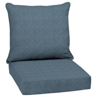 24 in. x 24 in. Denim Alair Texture 2-Piece Deep Seating Outdoor Lounge Chair Cushion