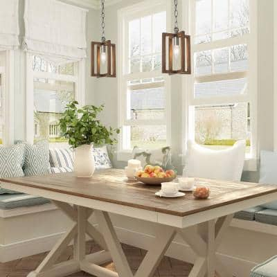 Eniso 1-Light Rustic Farmhouse Pendant Light Brown Cottage Transitional Kitchen Island Chandelier with Faux Wood Accents