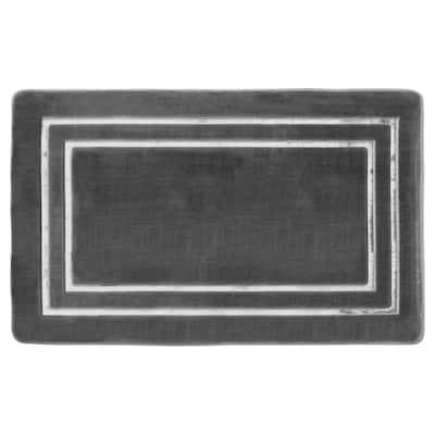 Border Embossed Dark Gray 20 in. x 32 in. Microfiber Memory Foam Bath Mat
