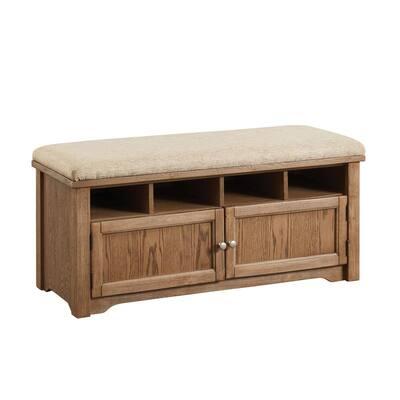 Janis Oak 4-Shelf Shoe Rack Bench