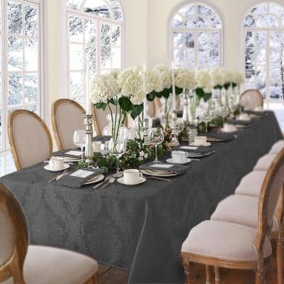 52 in. W X 70 in. L Gray Barcelona Damask Fabric Tablecloth