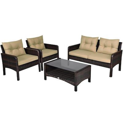 Dark Brown 4-Piece Metal Wicker Outdoor Loveseat with Beige Cushions